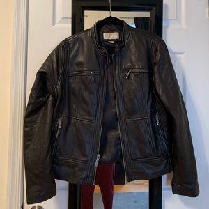 Black Leather Michael Kors motorcycle jacket XL